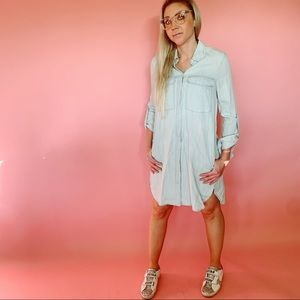 ZARA TRF Denim Button Down Collared Dress
